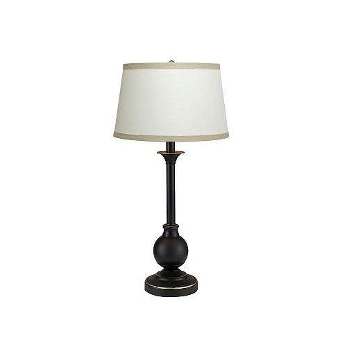 Urban Mini, Lampe De Table, Bronze Et Accent Or Suave,   Avec Abat Jour Orné De Bandes Beige
