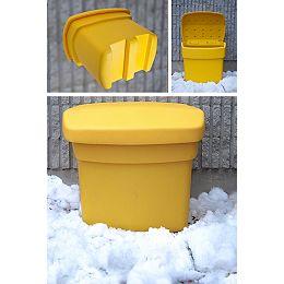 Bac à sable, à sel et à rangement, extérieur, jaune