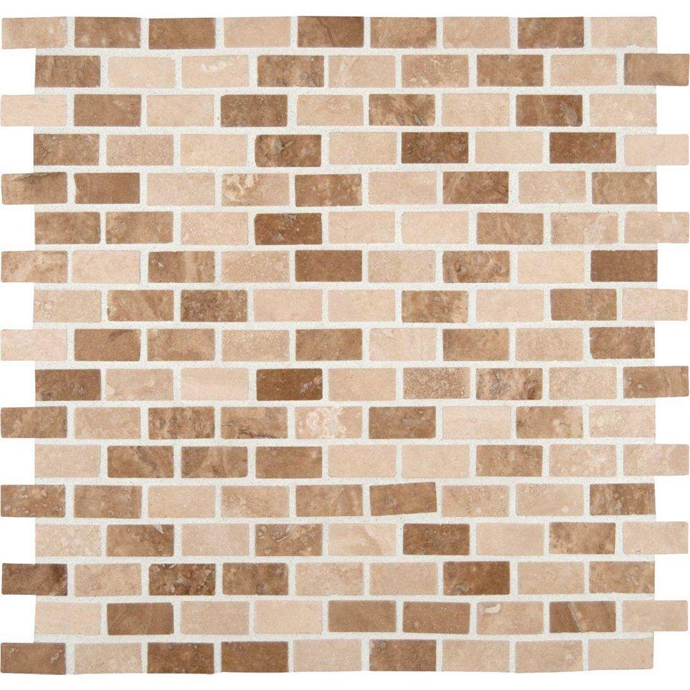 MSI Stone ULC Honed Noce/Chiaro Mini Brick Travertine Mesh-Mounted Mosaic Floor and Wall Tile
