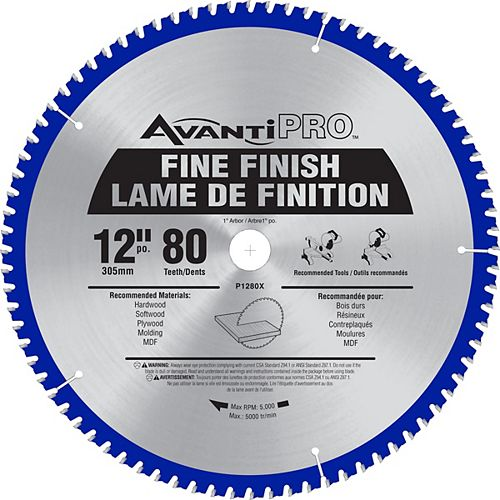 12-inch x 80 Tooth Carbide Tipped Fine Finish Mitre Saw Blade for Wood Cutting