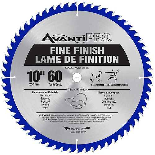 10-inch x 60 Tooth Carbide Tipped Fine Finish Mitre/Table Saw Blade for Wood Cutting