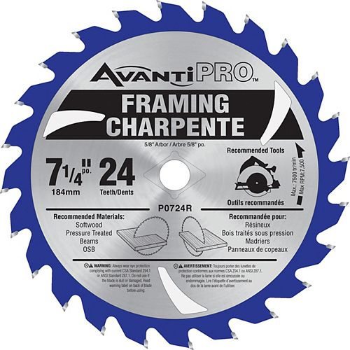 7 1/4-inch x 24 Tooth Carbide Tipped Framing Circular Saw Blade for Wood Cutting