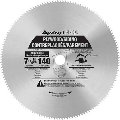 7 1/4-inch x 140 Tooth Carbide Tipped Circular Saw Blade for Laminate/Wood Cutting