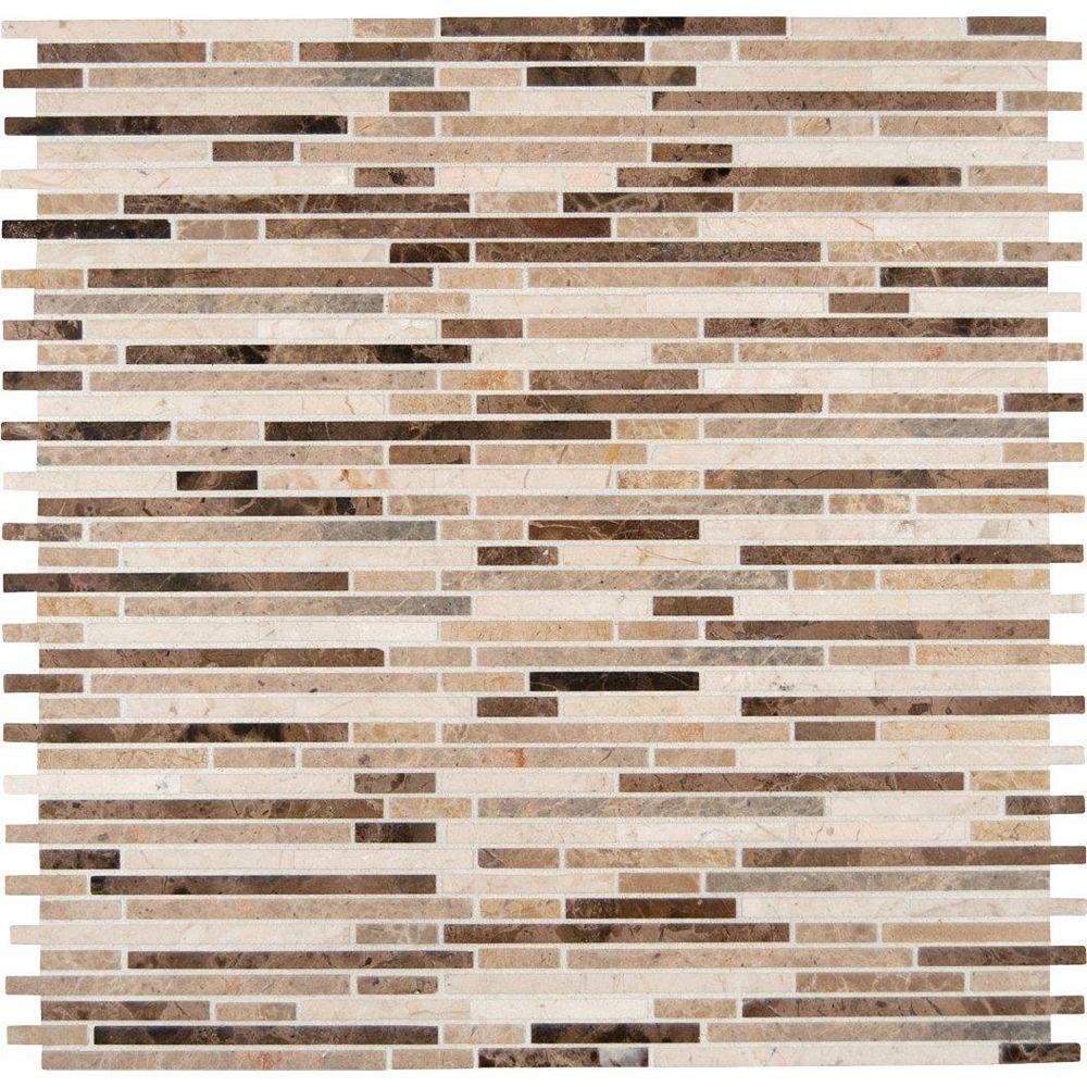 MSI Stone ULC Carreaux de mosaïque pour planchers et murs Emperador Mix Bamboo Pattern faits de marbre et montés sur filet