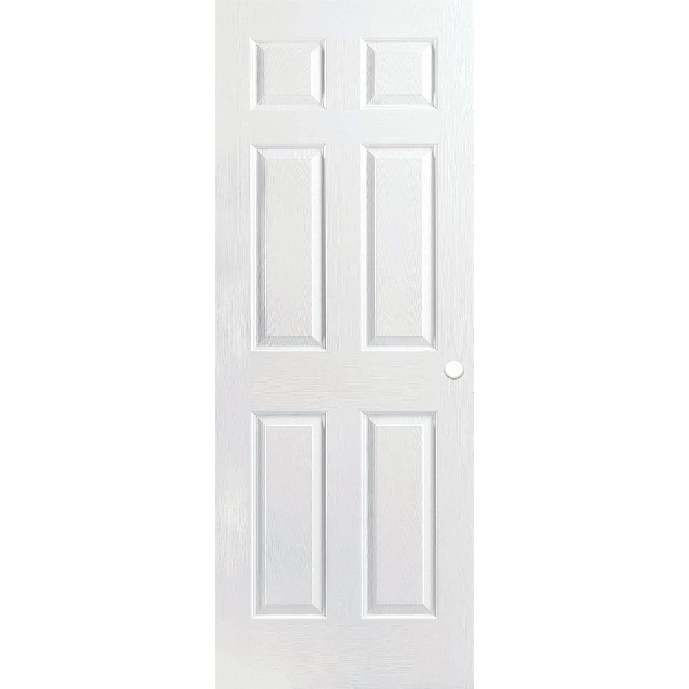 Masonite Porte intérieure pré-percée 6 panneaux texturée apprêtée 32 pouces x 80 pouces