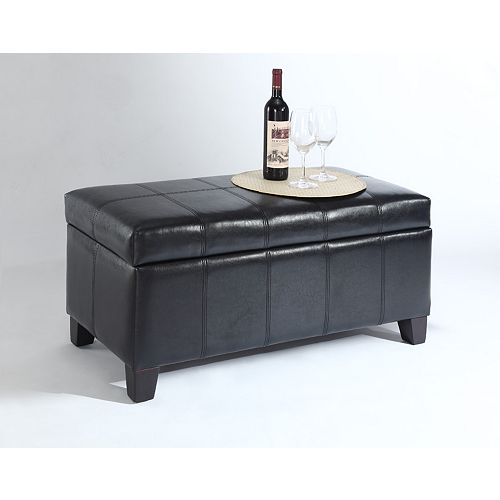 Bella 18-inch x 17-inch x 36-inch Faux Leather Ottoman in Brown
