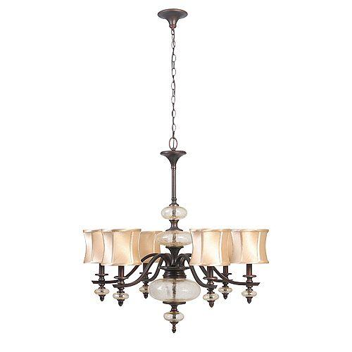 Lustre à huit lampes au fini cuivre vieilli de la Collection Chambord, 120 po