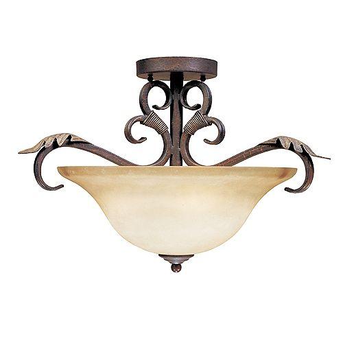 Luminaire semi-affleurant  à trois lampes au fini bronze et argent craquelé de la Collection Olympus Tradition