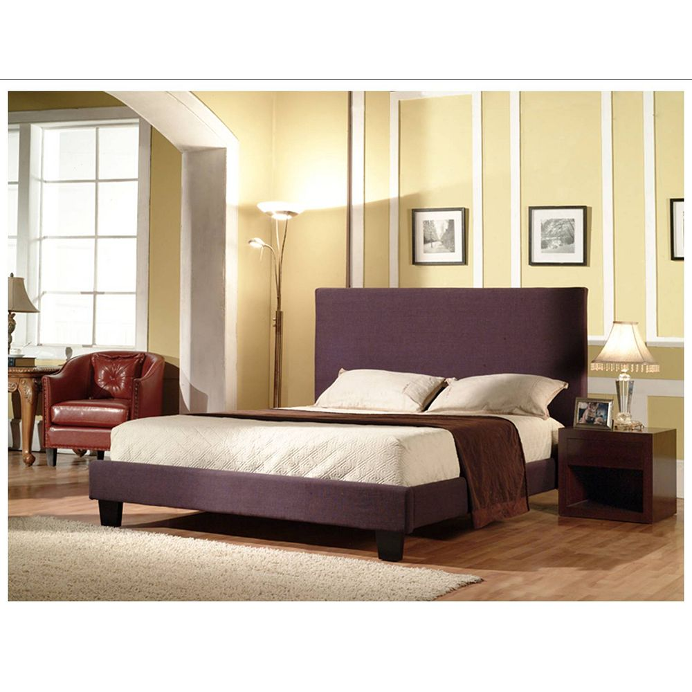 Worldwide Homefurnishings Inc. Hudson Linen Queen Bed - Purple
