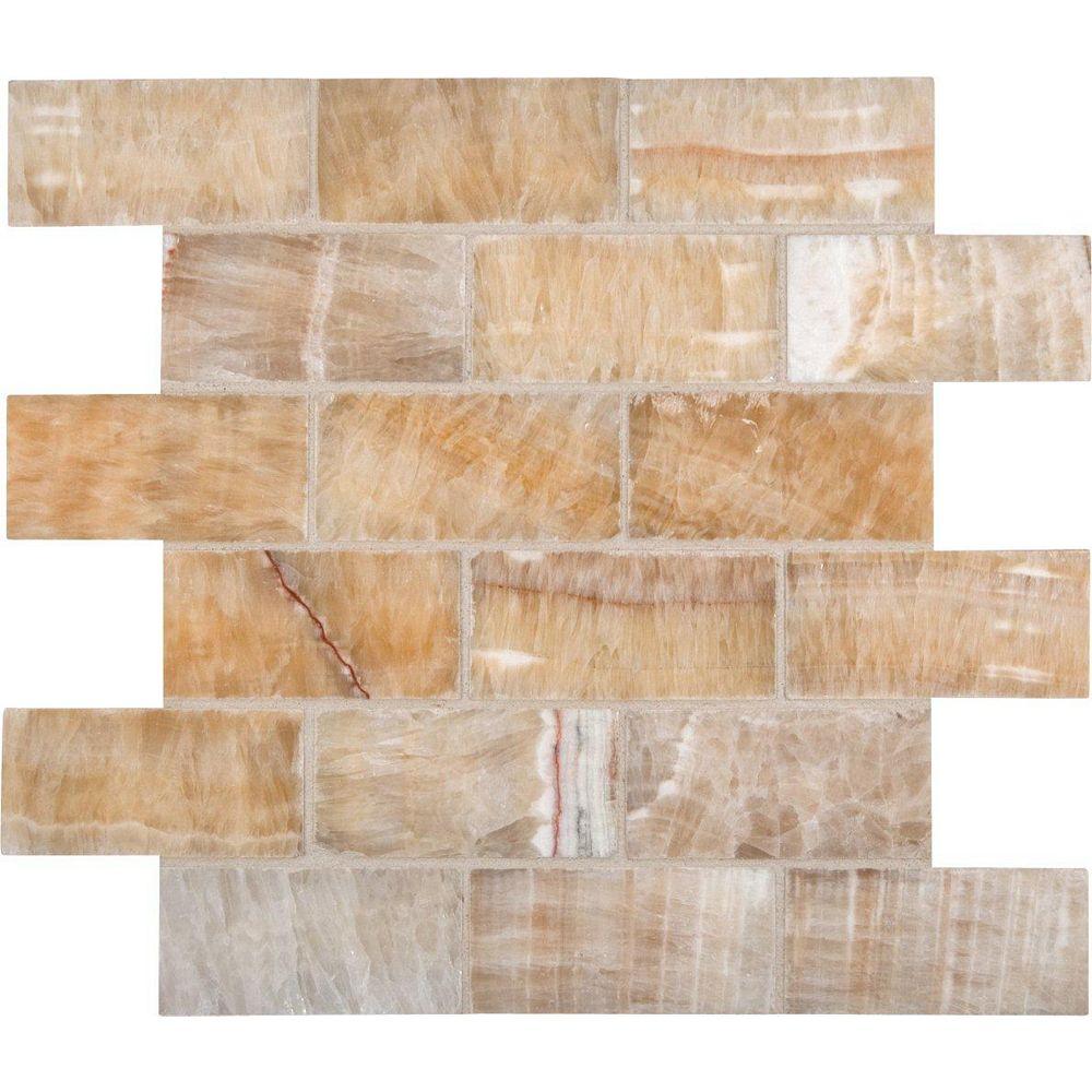 MSI Stone ULC Giallo Crystal 2-Inch x 4-Inch Polished Onyx Mesh-Mounted Mosaic Floor and Wall Tile