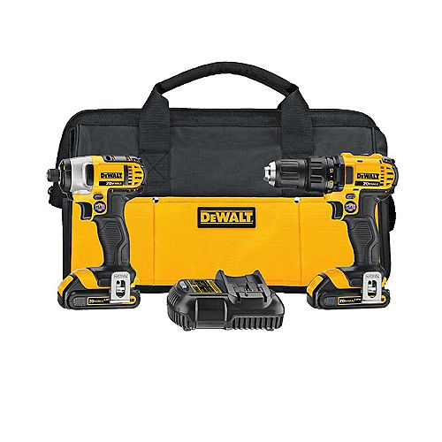 20V MAX Lithium-Ion Cordless Drill/Impact Combo Kit (2-Tool) with 2 Batteries 1.5 Ah, Charger and Tool Bag