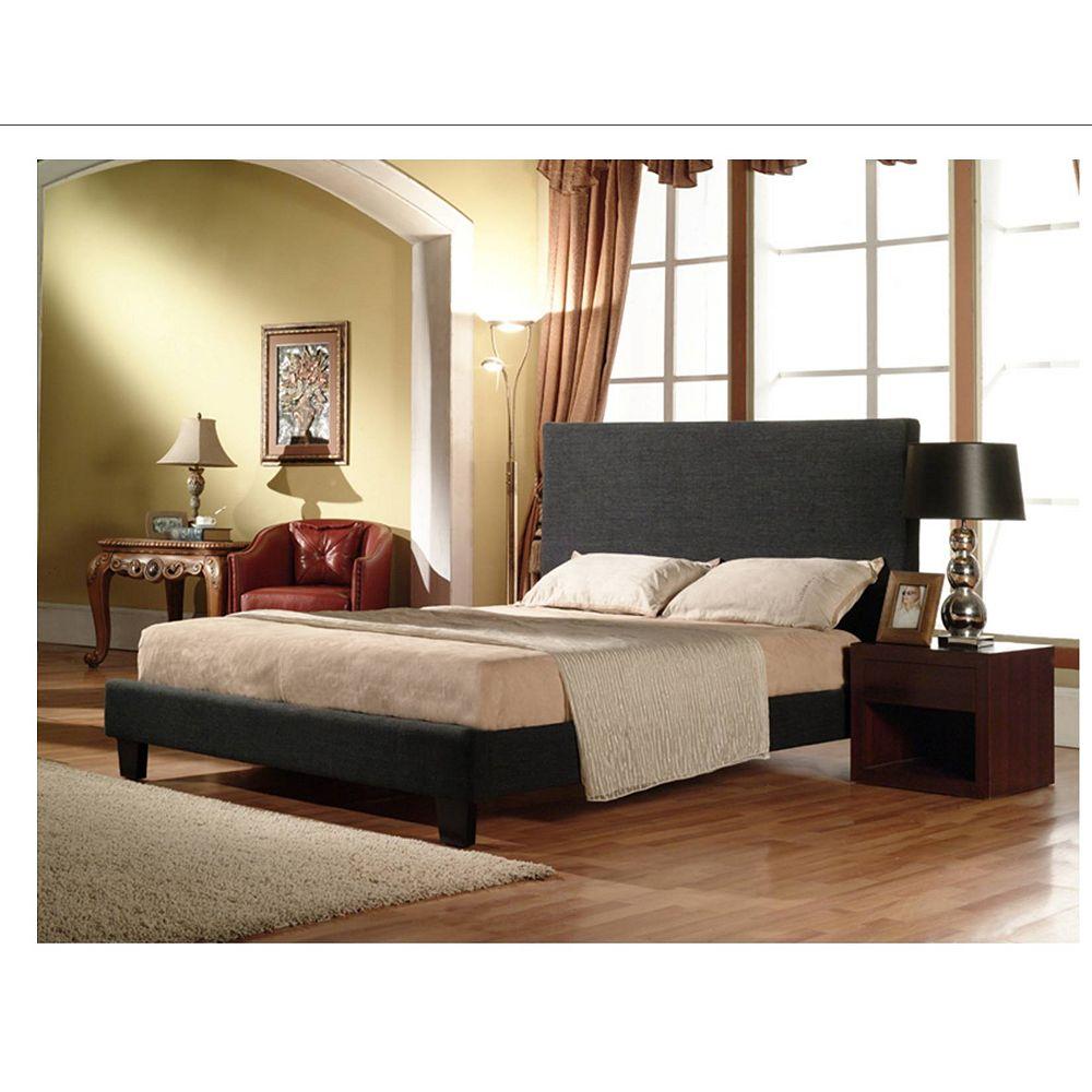 Worldwide Homefurnishings Inc. Hudson Linen Double Bed - Charcoal