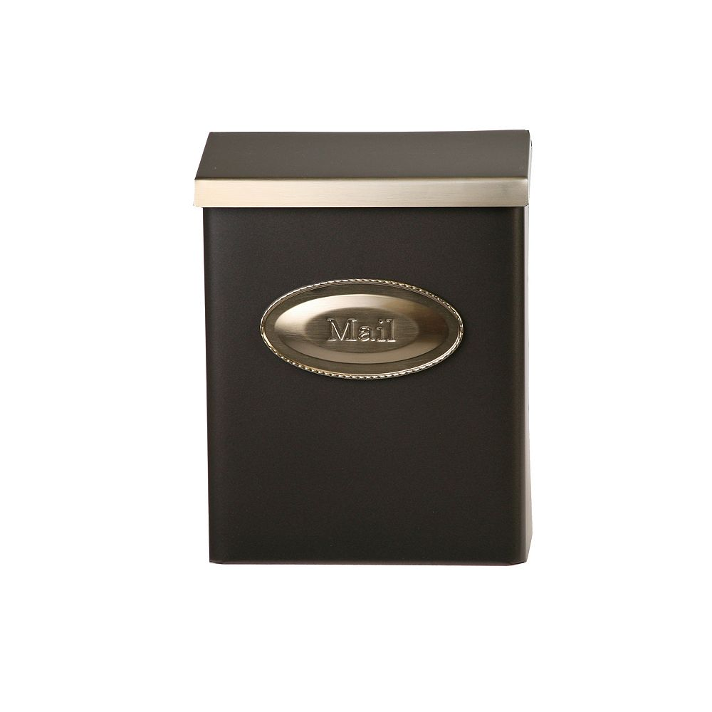 Gibraltar Industries Designer Wall Mount Mailbox in Bronze with Brushed Brass Lid
