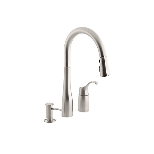 Simplice Three-hole kitchen sink faucet with 9 Inch pull-down spout, soap dispenser