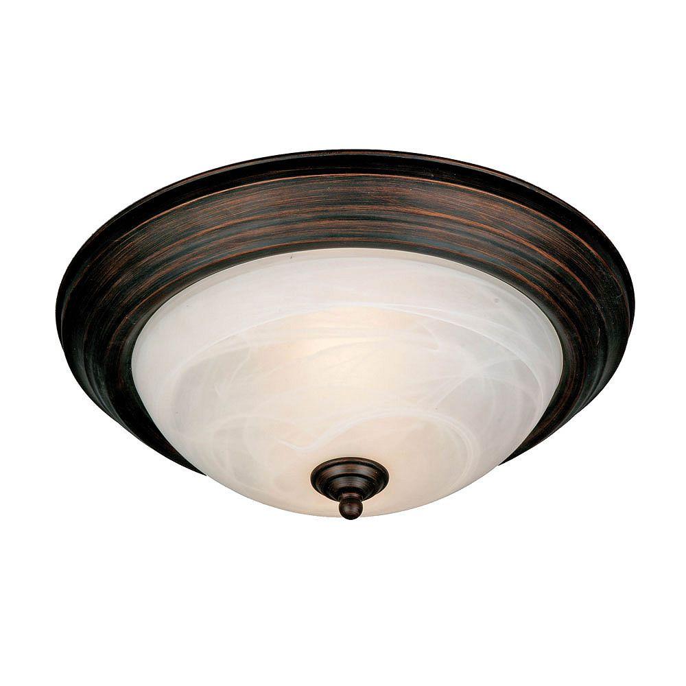 CLI 2-Light Flushmount White Marbled Glass Rubbed Bronze Finish - 11 Inch Diameter