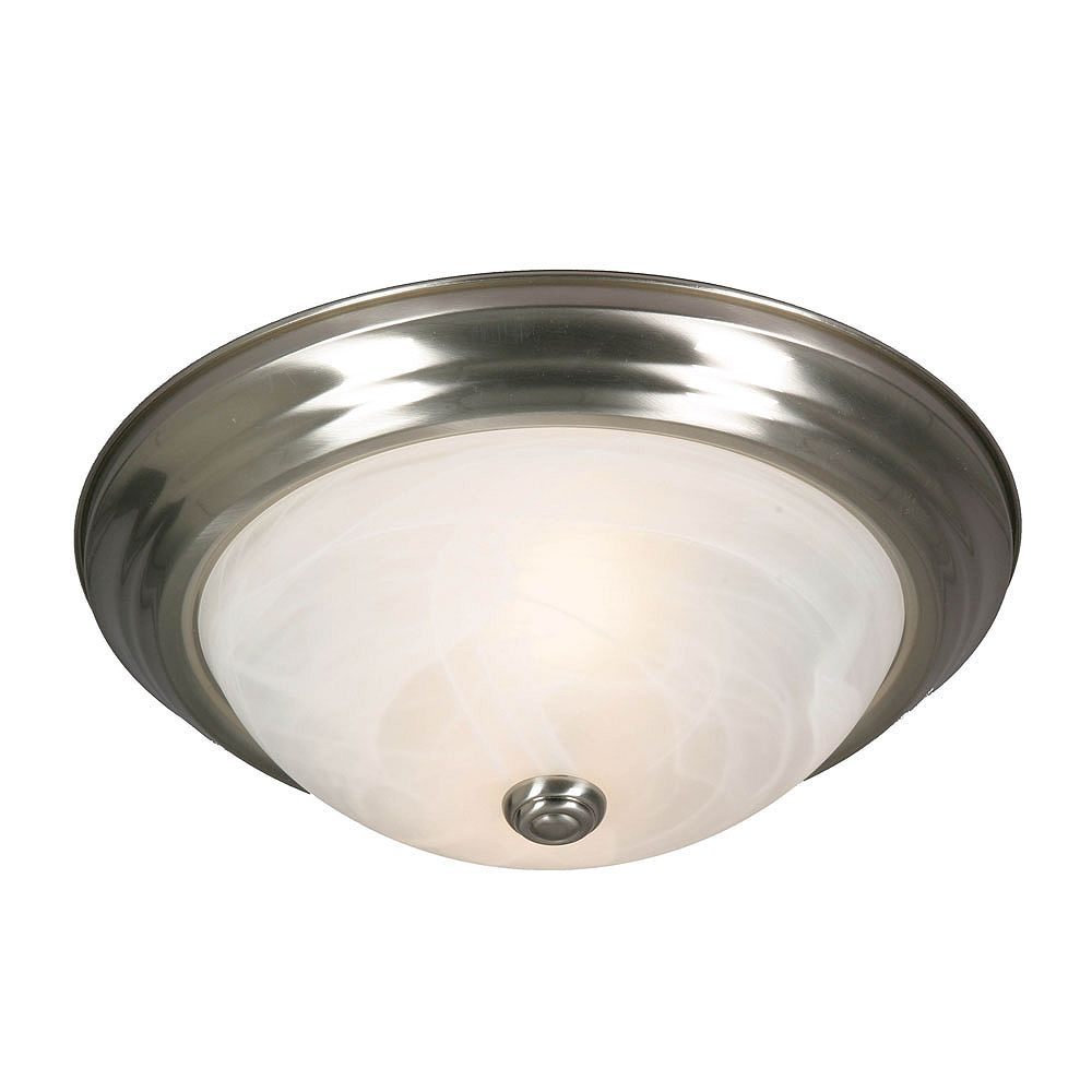 CLI 2-Light Flushmount White Marbled Glass Pewter Finish