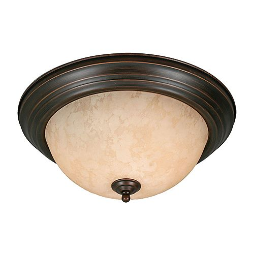 2-lumière Flushmount Thé Pierre Verre Rubbed Bronze finir