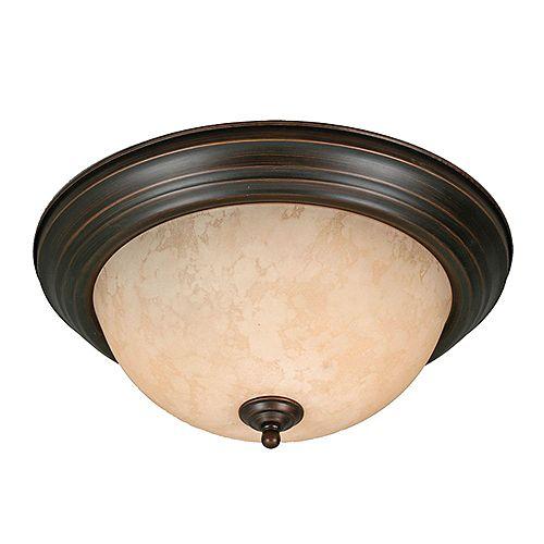 3-lumière Flushmount Thé Pierre Verre Rubbed Bronze finir