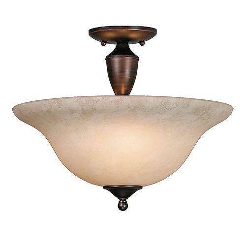 3-lumière Semi Flush Convertible Tea StainedGlass Rubbed Bronze finir