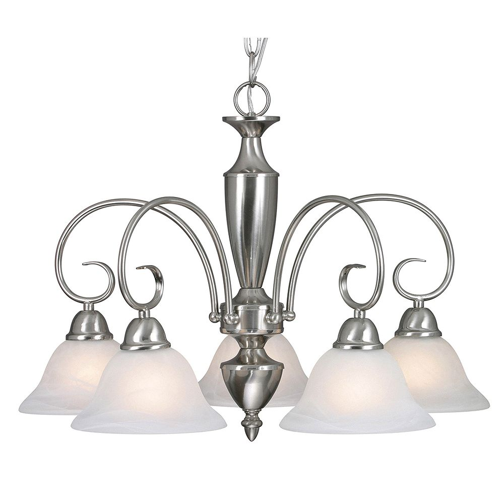 CLI 5-Light Chandelier White Marbled Glass Pewter Finish