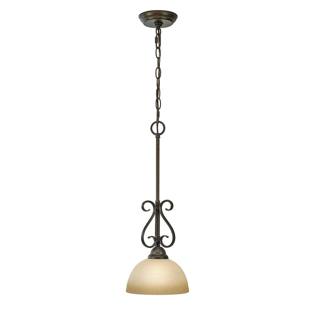 CLI 1-Light Pendant Linen Swirl Glass Peppercorn Finish