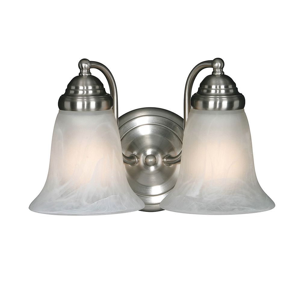 CLI 2-Light Bath Fixture Marbled Glass Pewter Finish
