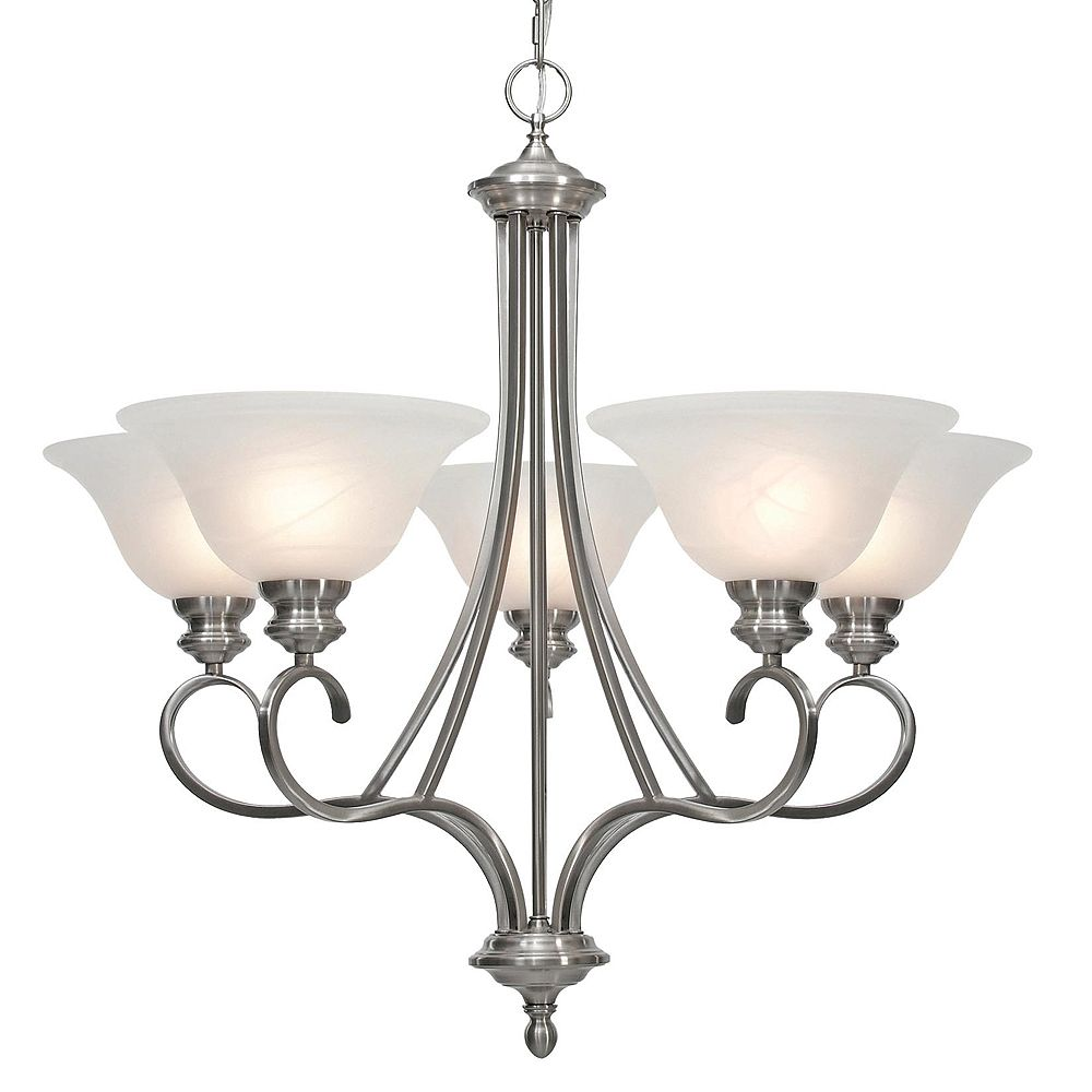 CLI 5-Light Chandelier Marbled Glass Pewter Finish