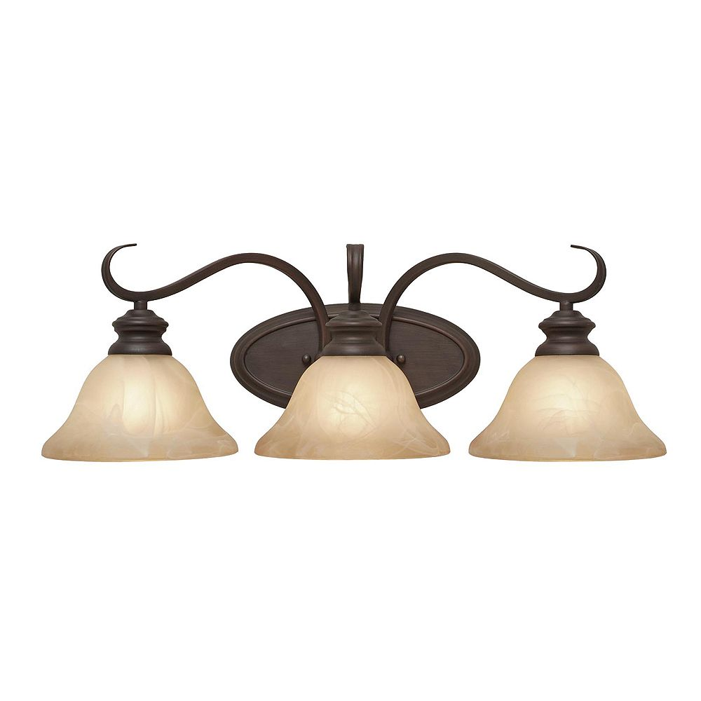 CLI 3-Light Bath Fixture Antique Marbled Glass Rubbed Bronze Finish
