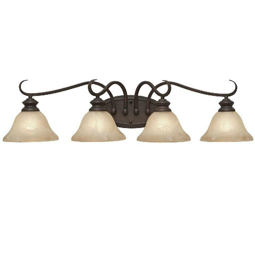 CLI 4-Light Bath Fixture Antique Marbled Glass Rubbed Bronze Finish