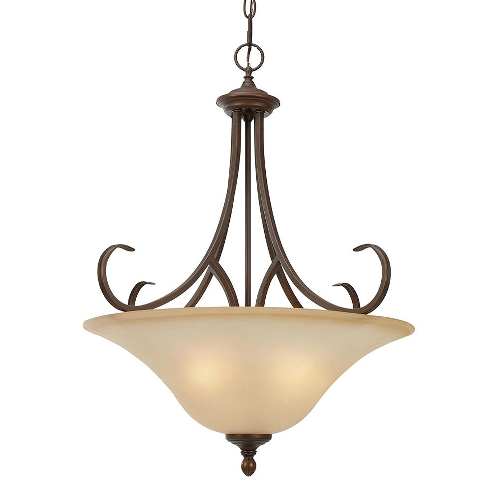 CLI 3-Light Pendant Antique Marbled Glass Rubbed Bronze Finish