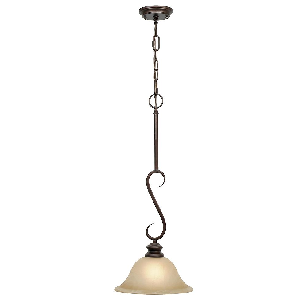 CLI 1-Light Pendant Antique Marbled Glass Rubbed Bronze Finish