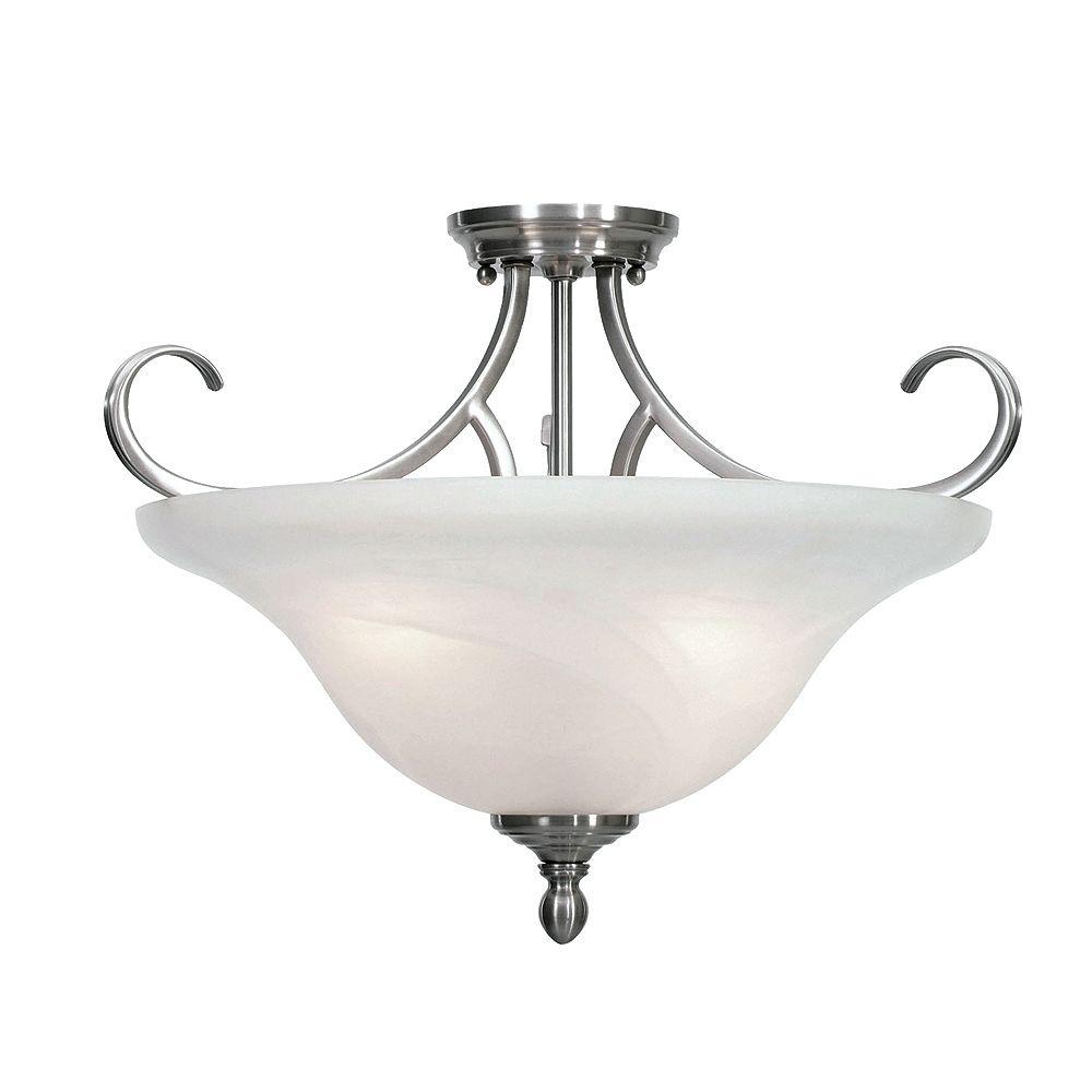 CLI 3-Light Semi Flush Marbled Glass Pewter Finish