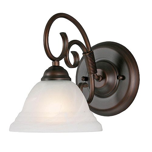 1-lumière Wall Sconce Ridged Marbre Verre Rubbed Bronze finir