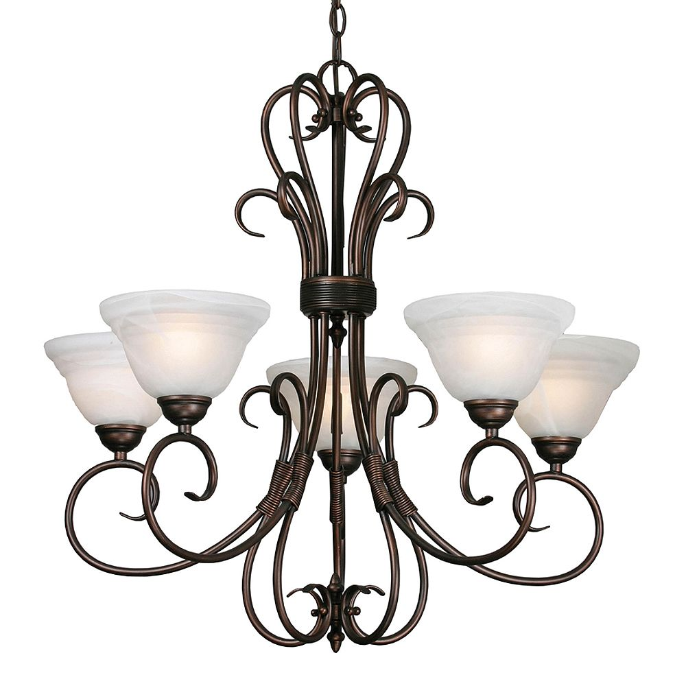 CLI 5-Light Chandelier Ridged Marbled Glass Rubbed Bronze Finish
