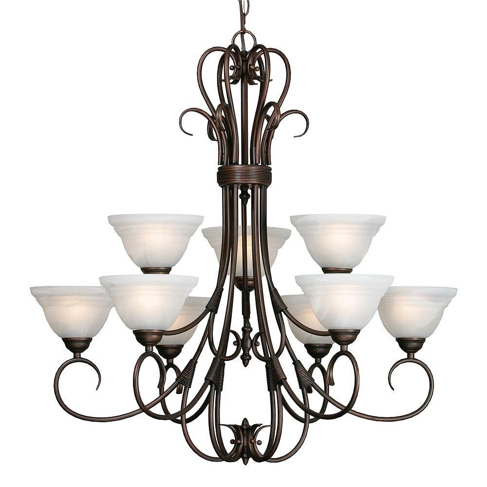 CLI 9-Light Chandelier Ridged Marbled Glass Rubbed Bronze Finish