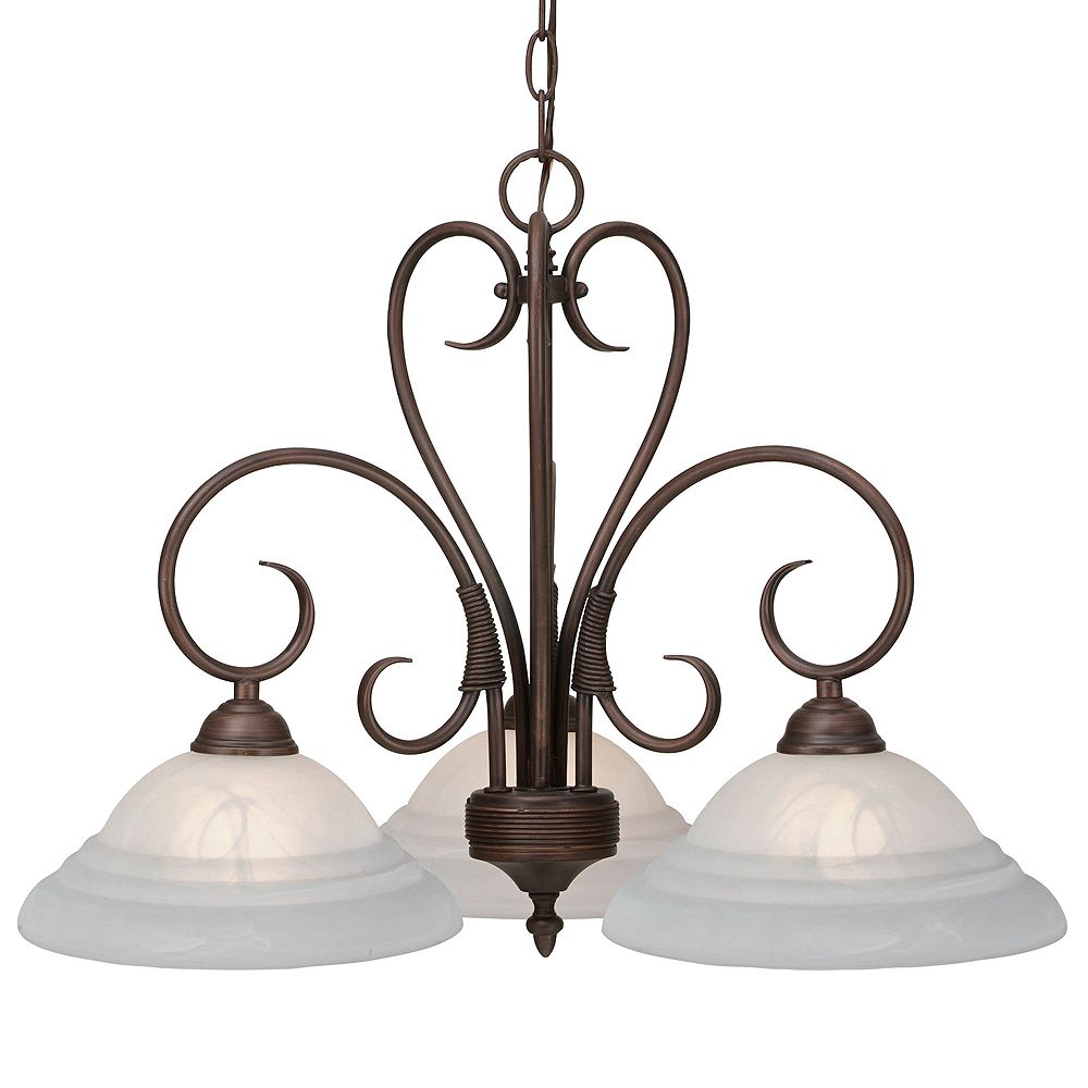 CLI 3-Light Chandelier Ridged Marbled Glass rubbed Bronze Finish