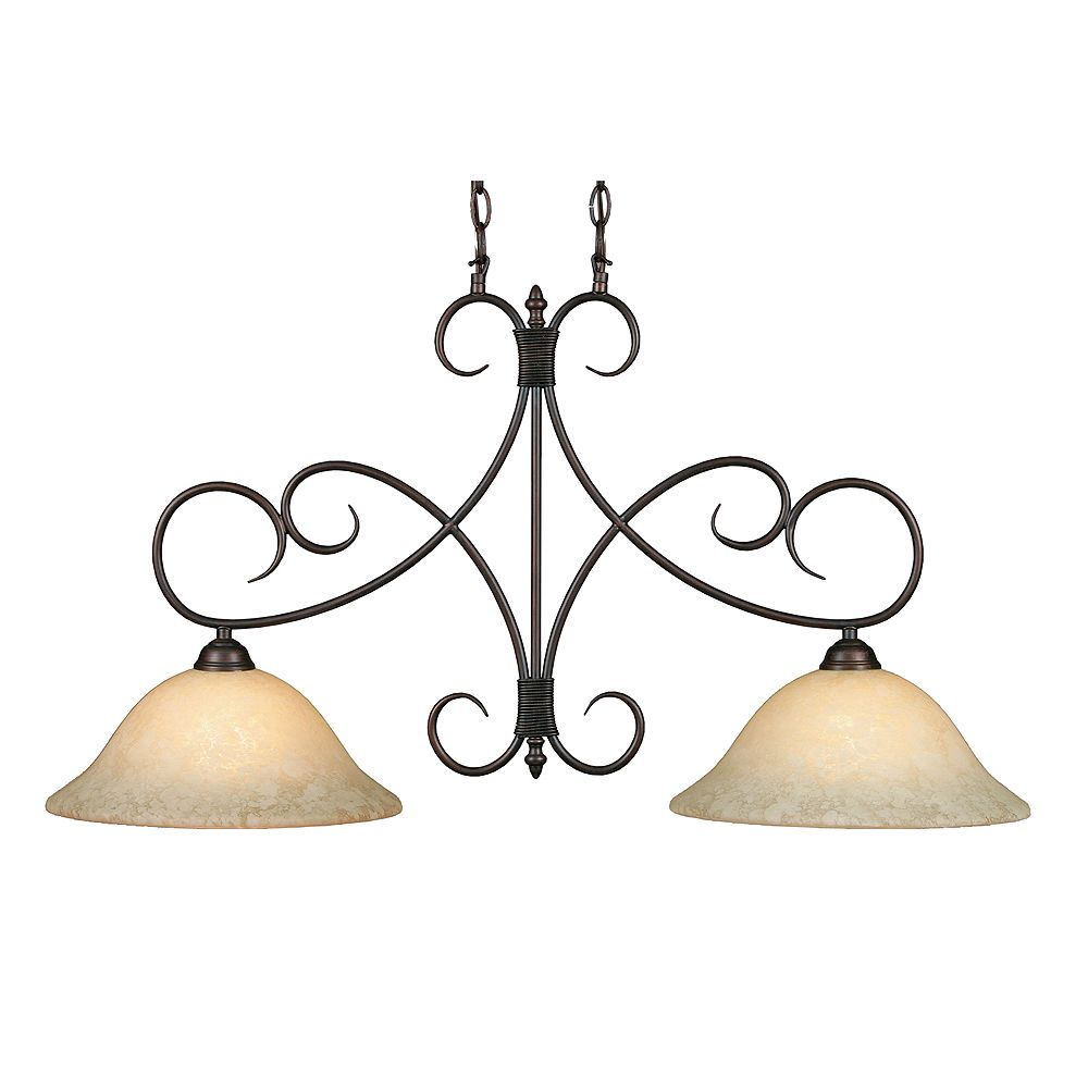 CLI 2-Light Island Light Tea Stone Rubbed Bronze Finish