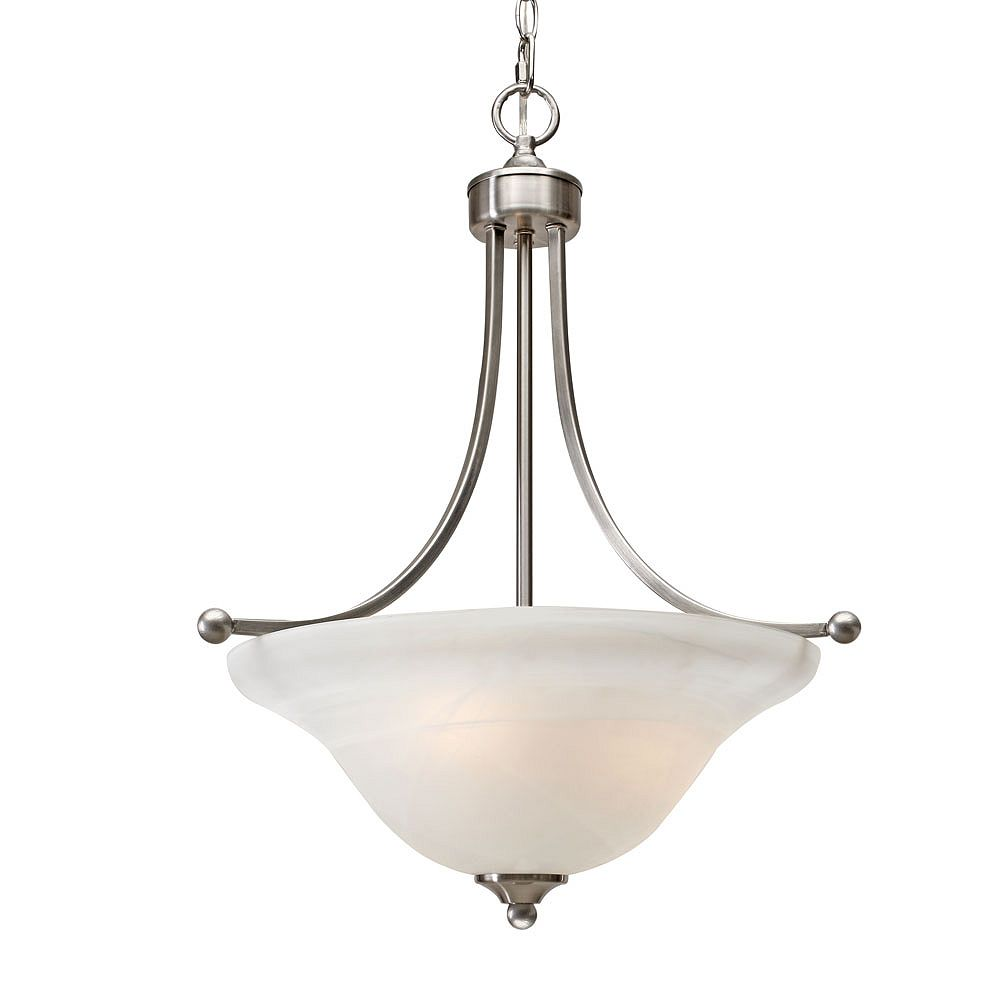 CLI 3-Light Pendant White Marbled Glass Pewter Finish
