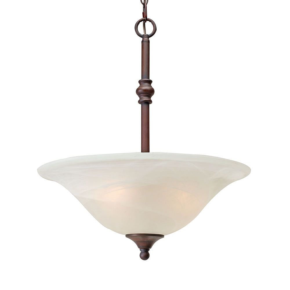 CLI 3-Light Pendant White Marbled Glass Rubbed Bronze Finish