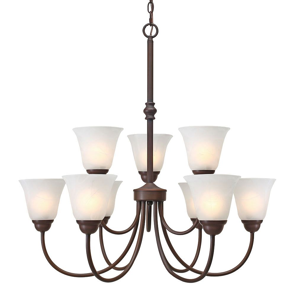 CLI 9-Light Chandelier White Marble Glass Rubbed Bronze Finish
