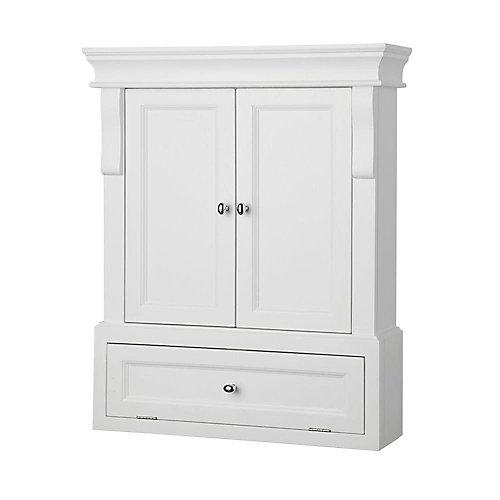 Naples 26-1/2-inch W x 32-3/4-inch H x 8-inch D Bathroom Storage Wall Cabinet in White
