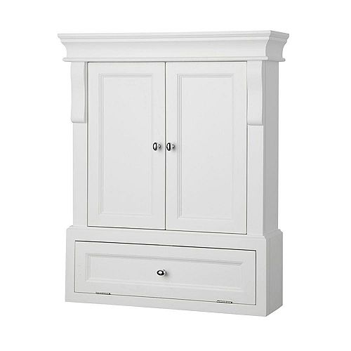Home Decorators Collection Naples 26-1/2-inch W x 32-3/4-inch H x 8-inch D Bathroom Storage Wall Cabinet in White