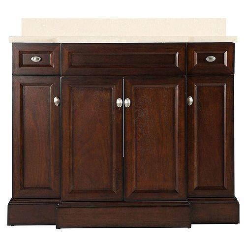 Home Decorators Collection Teagen 42-inch W Bath Vanity in Dark Espresso with Engineered Stone Vanity Top in Beige