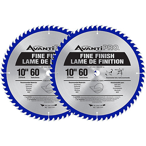 10-inch 60-Tooth Fine Finish Saw Blade (2-Pack)