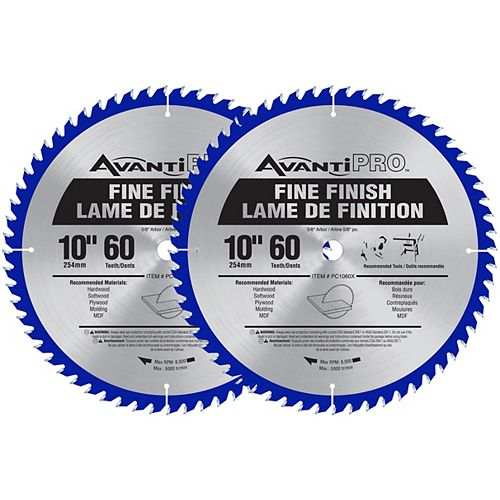 10-inch x 60 Tooth Carbide Tipped Fine Finish Mitre/Table Saw Blade for Wood Cutting (2 Pack)