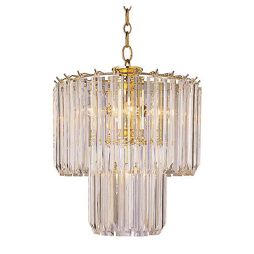 Bel Air Lighting Polished Brass and Clear Acrylic 2 Tier Chandelier