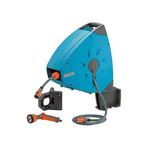 Comfort Wall-Mounted Hose Box 20 Roll-up Automatic Plus equipped with hose guide.
