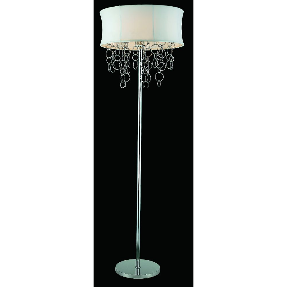 GEN-Lite Halo Floor Lamp With Chrome Metal Rings - White Shade
