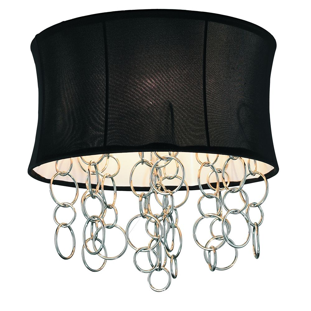 GEN-Lite Halo Ceiling Fixture With Chrome Metal Rings - Black Shade