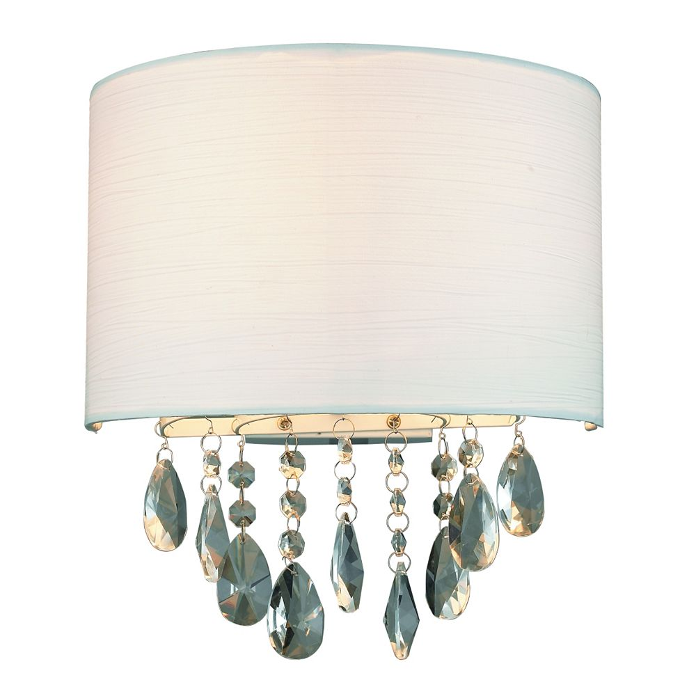 GEN-Lite Rossini Wall Lamp - White Rugate Shade With Crystals